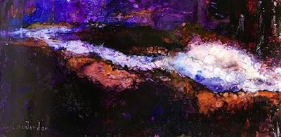 "Contemporary Abstract Painting,Blue Art, Alcohol Ink ""Sound of Water"" by New Orleans Artist Lou Jordan"