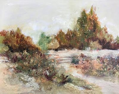 "Contemporary Landscape Painting,Fine Art For Sale,Textured Art, Mixed Media, ""Real and Imagined"" by Contemporary Artist Liz Thoresen"
