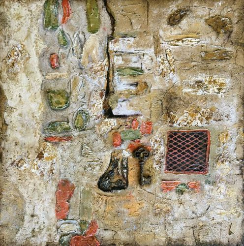 "Mixed Media Fine Art Painting, Italian Architecture ""The Secrets of Cortona"" by International Abstract Artist Kimberly Conrad"