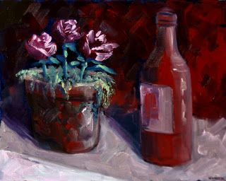 Mark Webster - Beer and Flowers Still Life Oil Painting 071910