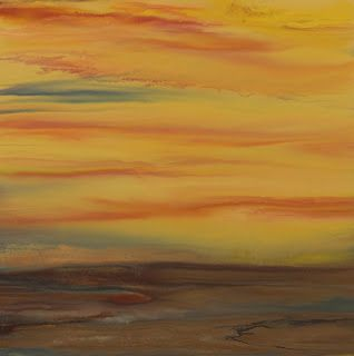 """Contemporary Abstract Landscape,Sunset Art Painting """"Golden Hour Upon Us VI"""" by Colorado Contemporary Landscape Artist Kimberly Conrad"""
