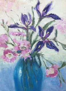 Spring Garden Blooms, New Contemporary Floral Painting by Sheri Jones