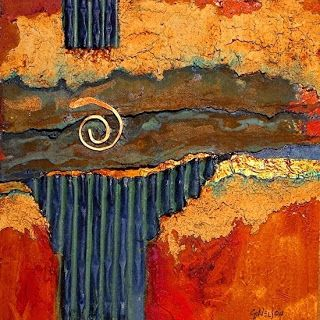 "Mixed Media Contemporary Abstract Painting ""Iron Strata1000"" © Carol Nelson Fine Art"