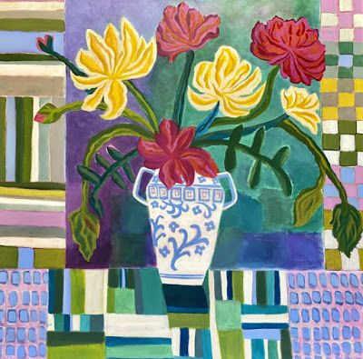 "Contemporary Abstract Bold Expressive Still Life Flower Painting ""Sunny June Day"" by Santa Fe Artist Annie O'Brien Gonzales"