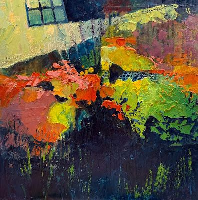 "Abstract Painting, Mixed Media ""Garden Window"" by Colorado Mixed Media Artist Carol Nelson"