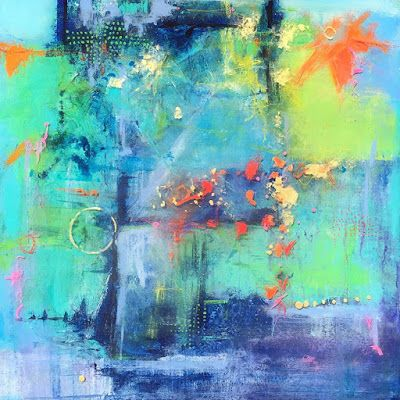 "Contemporary Mixed Media Abstract Expressionist Painting ""JANUARY TRANSFORMATION"" by Abstract Artist Pamela Fowler Lordi"