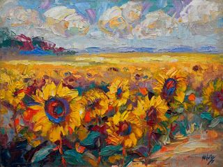 """""""Capturing the Sun"""" Cheerful Sunflower Painting by Niki Gulley"""