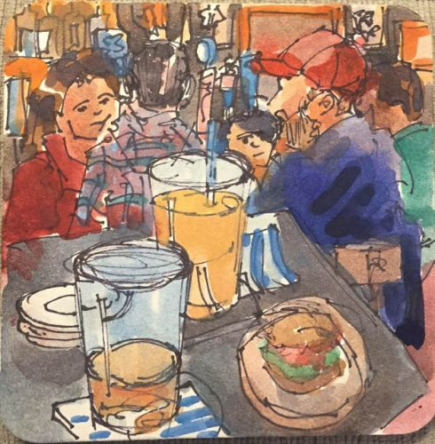 Days 572 and 573 Dinner at a Pub - Coaster Art