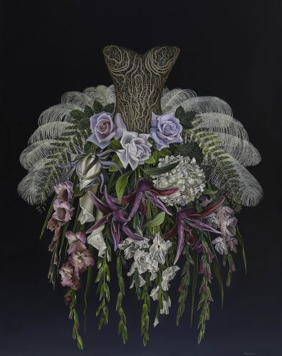 Lush Florals Sprout from Corsets and Dresses in Enchanting Paintings by Artist Amy Laskin