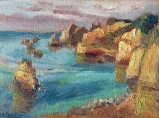 Plein Air Oil Painting of Laggos, Portugal by Niki Gulley
