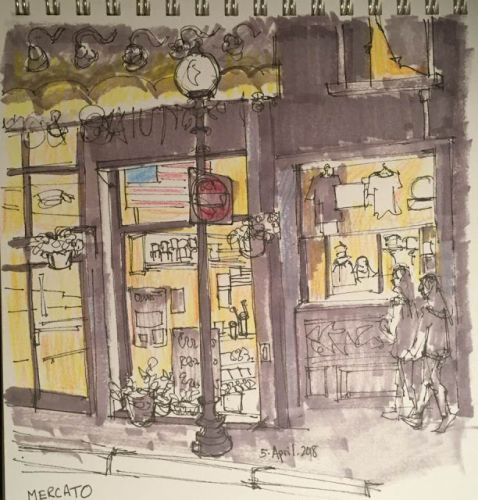 """Day 187 """"Mercato"""" 9 x 10 ink and marker"""