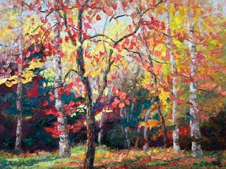"""New """"Autumn Serenade"""" Palette Knife Fall Foliage Painting by Niki Gulley"""