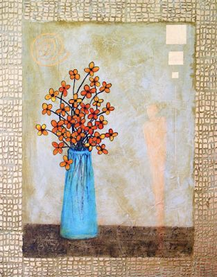 "Original Contemporary Abstract Mixed Media Still Life Flower Art Painting ""Bright Morning"" by Contemporary Arizona Artist Pat Stacy"