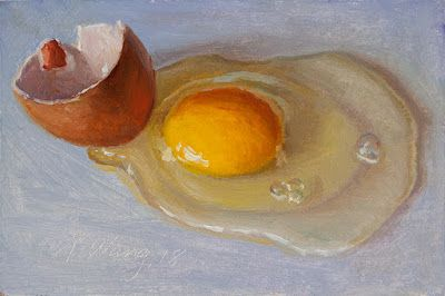 A cracked egg daily painting a day food still life small original