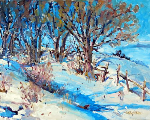 Snow Ridge 16 in. x 20 in. Oil / Stretched Canvas