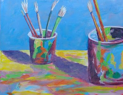"Still Life, Artist Tools, Paintbrushes, Contemporary Art, Abstract ""Tools of the Trade"" by Cynthia Berg"