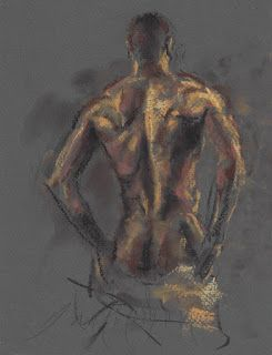 Standing male and undressing female nude
