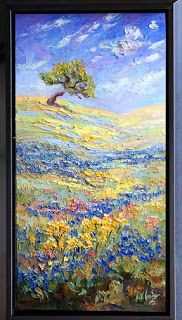 """Visions of Blue III"" Palette Knife Bluebonnet Painting by Texas Artist Niki Gulley"