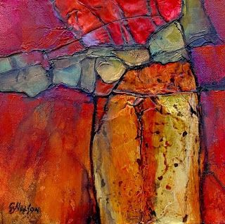 """Geological Abstract Art Painting """"Canyon Colors"""" by Colorado Mixed Media Abstract Artist Carol Nelson"""