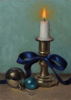 """Christmas Candle 2018"" Oil on 5x7 board"