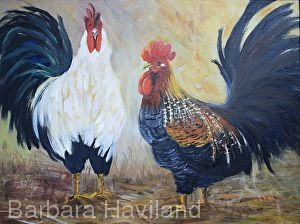 Talking it Over,Roosters,oils canvas,Barbara Haviland