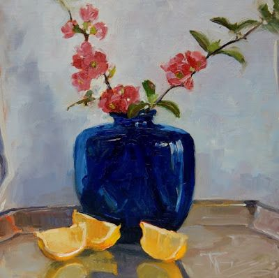 Blue Vase with Lemons