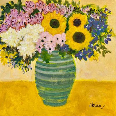 """Contemporary Bold Expressive Still Life Flower Painting """"Yellow Happiness"""" by Bold Expressive Painter, Santa Fe Artist Annie O'Brien Gonzales"""