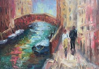 "New ""Strolling the Canals"" in Venice by Impasto Painter Niki Gulley"