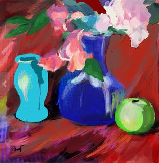 Blue Vase and Purple Plums..Procreate paintings