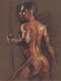 Standing male nude pastel drawing