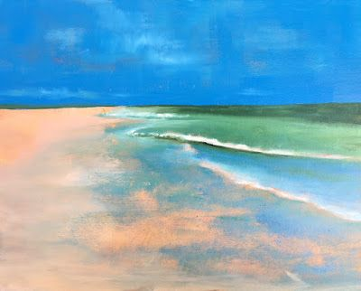 """Contemporary Beach and Ocean Landscape, """"Reflection 2,"""" by Amy Whitehouse"""