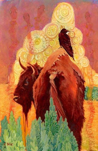 """Native American Legend, Bison Art Painting """"How The Bison Got His Hump"""" by Nancee Jean Busse, Painter of the American West"""