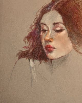 Ready for Night - original pastel pencil portrait drawing