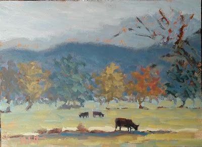 Landscape Painting Tennessee Cows Original Art