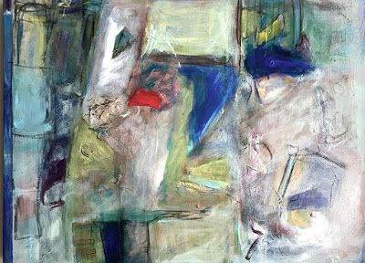 "Contemporary Abstract Expressionism Fine Art Painting ""Let The Games Begin"" by Oklahoma Artist Nancy Junkin"