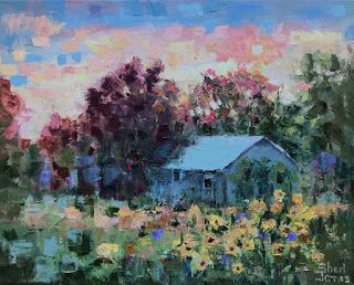 Contemporary Impressionistic Floral Landscape Palette Knife Original Oil Painting by Sheri Jones