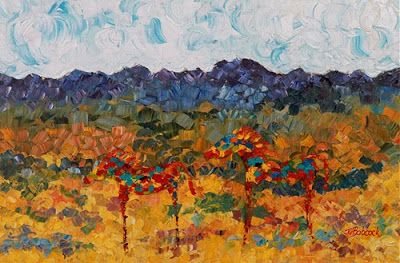 """Palette Knife Abstract Landscape Horse Painting """"Colorful Couple"""" by Colorado Impressionist Judith Babcock"""