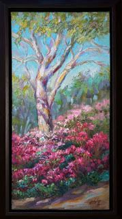 """Visions of Azaleas"" Palette Knife Oil Painting by Niki Gulley"