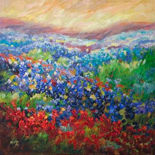 """Visions of Wildflowers"" Palette Knife Bluebonnet Oil Painting by Niki Gulley"