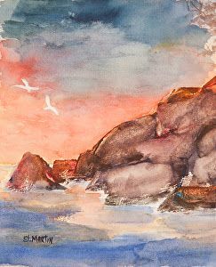 """Original Watercolor, Seascape, Ocean Rocks Sunset Painting """"Sunset on the Rocks"""" by Florida Impressionism Artist Annie St Martin"""