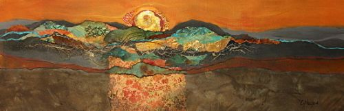 """Mixed Media Contemporary Abstract Art Painting, """"Sonoran Sunset"""" © Carol Nelson Fine Art"""