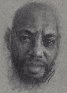 """Portrait of a man"" charcoal on paper"