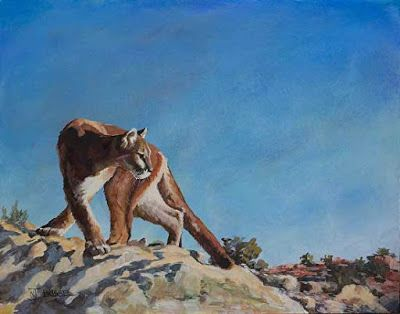"Original Puma Wildlife Painting ""HIGH DESERT PUMA"" by Colorado Artist Nancee Jean Busse, Painter of the American West"