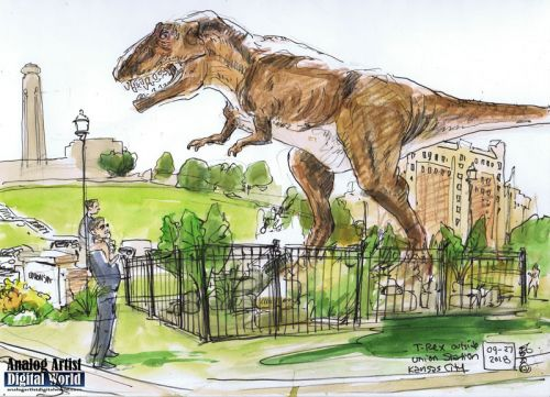 T-Rex outside Union Station Kansas City