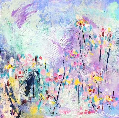 "Holiday Sale,Flower Art,Colorful Contemporary Abstract Expressionist Fine Art Painting ""BUTTERCUP"