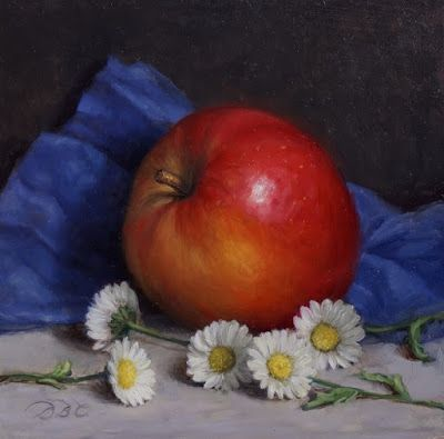 """Honey Crisp and Daisies"" Oil on 6x6 board"
