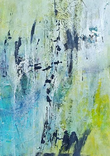 "Mixed Media, Contemporary Abstract Art ""SPRING RAIN"" by Contemporary Artist Gerri Calpin"