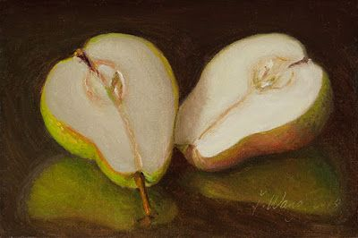 Pear halves a painting a day