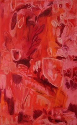 """Contemporary Abstract Mixed Media RED Painting """"Red Emperor 1"""" by Santa Fe Artist Annie O'Brien Gonzales"""