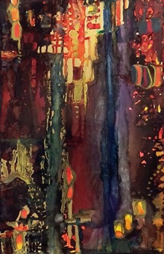 "Contemporary Abstract Painting, Alcohol Ink Art ""ST. LO"" by New Orleans Artist Lou Jordan"